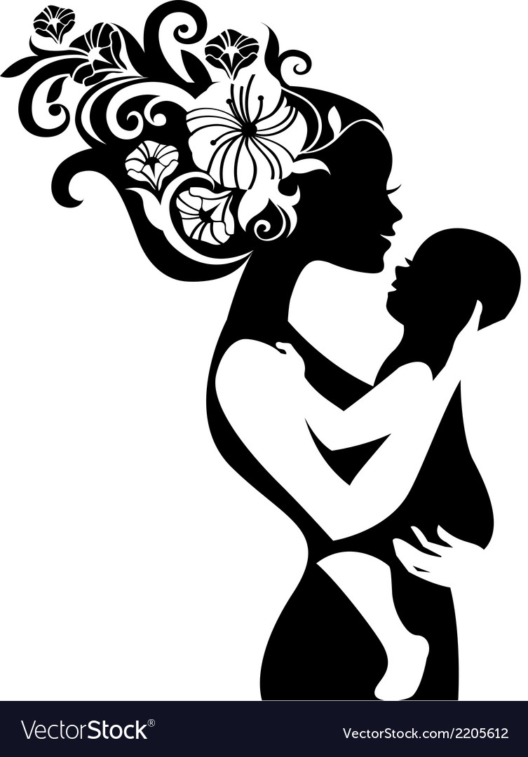 Beautiful mother silhouette with her baby vector