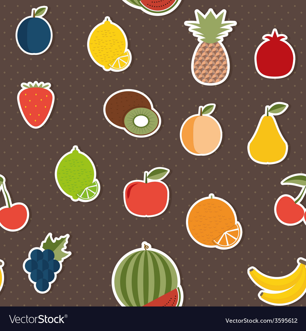 Fruit seamless pattern the image of fruits and vector