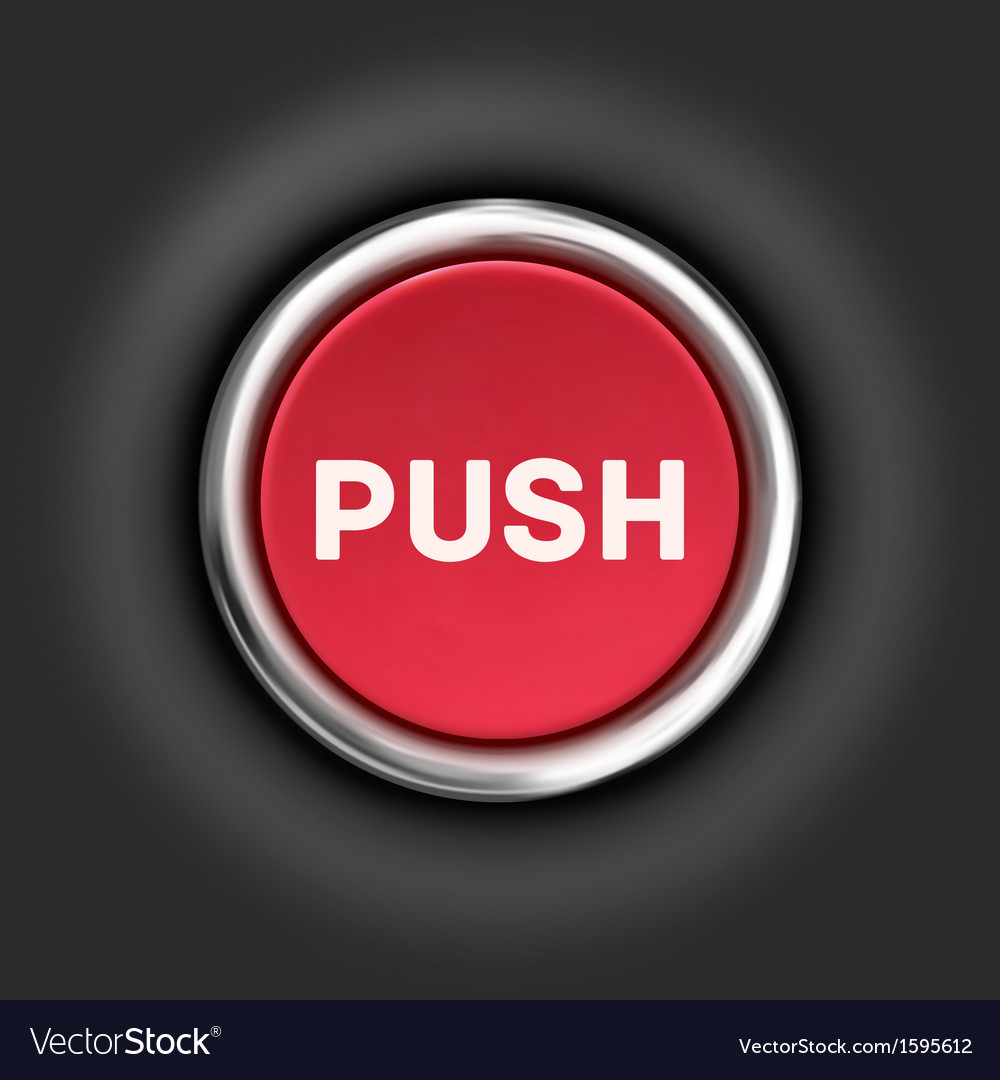 Push button 3d red glossy metallic icon vector