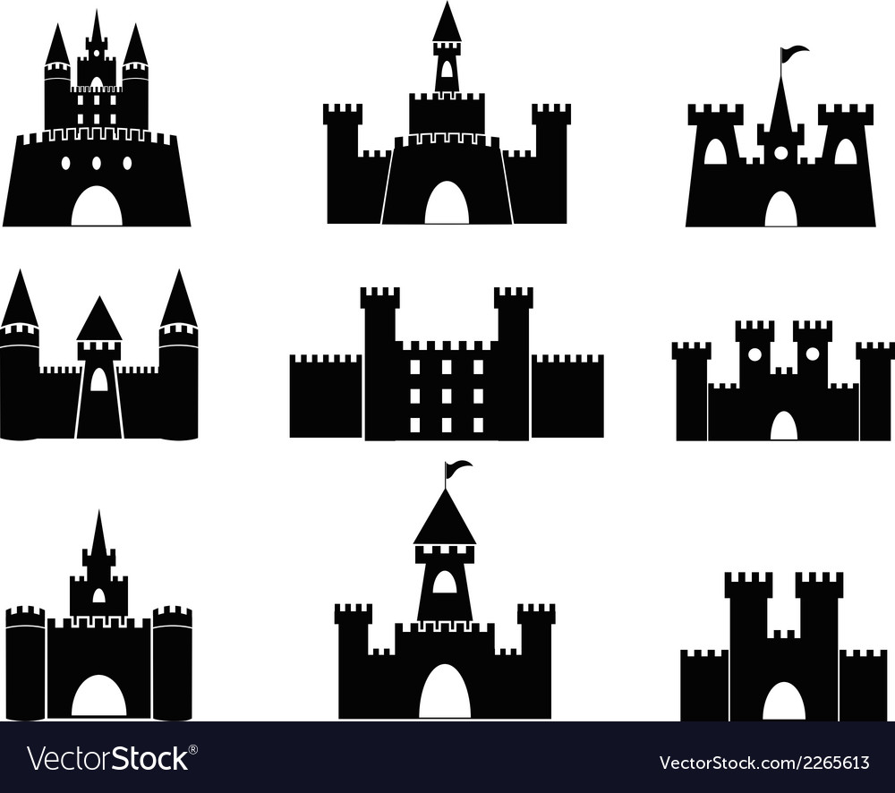 Black castle icons vector