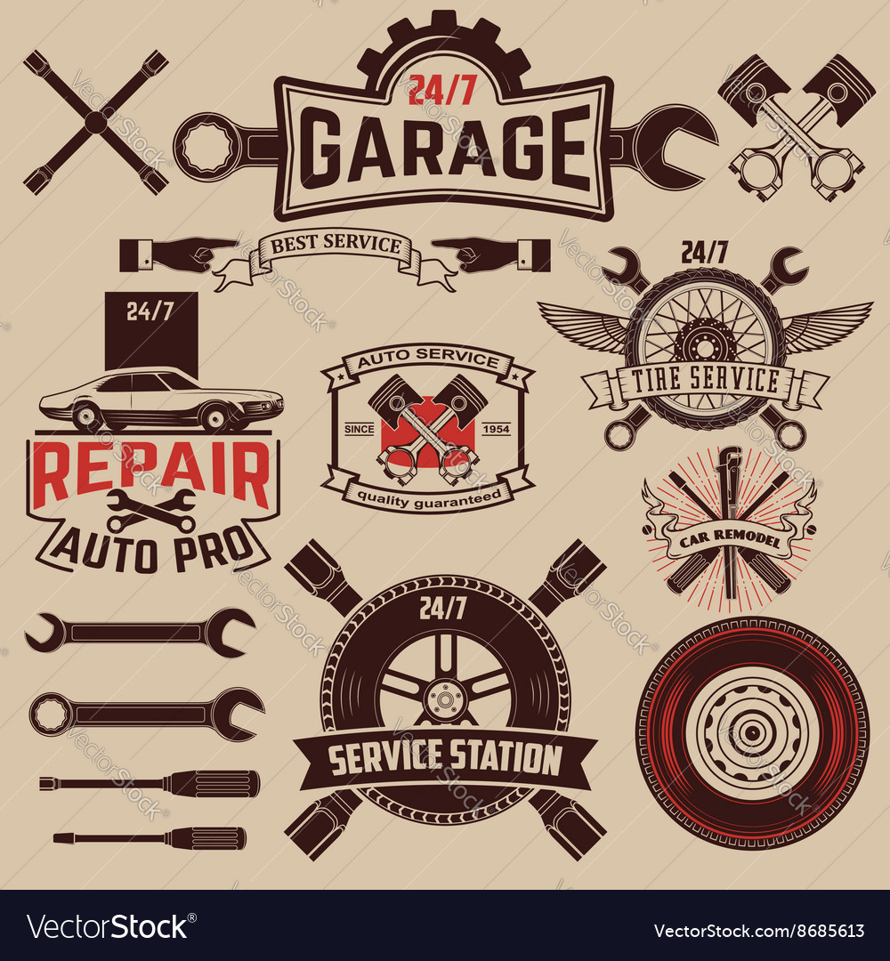Set of car service labels vector