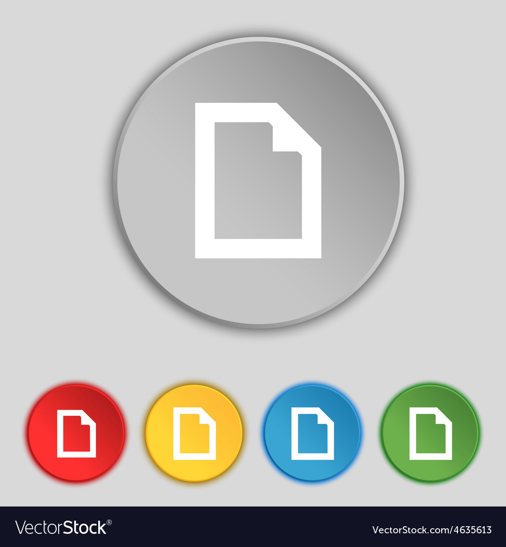 Text file document icon sign symbol on five flat vector