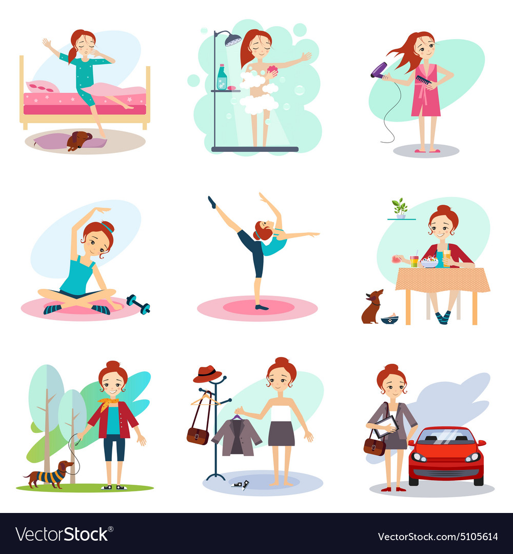 Daily routine set with cute girl vector