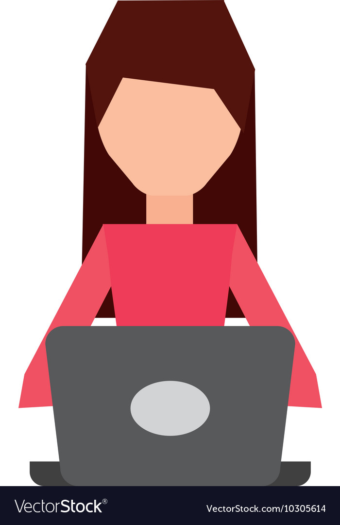 User computer laptop isolated vector