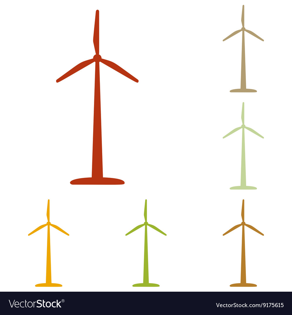 Wind turbine logo or sign vector