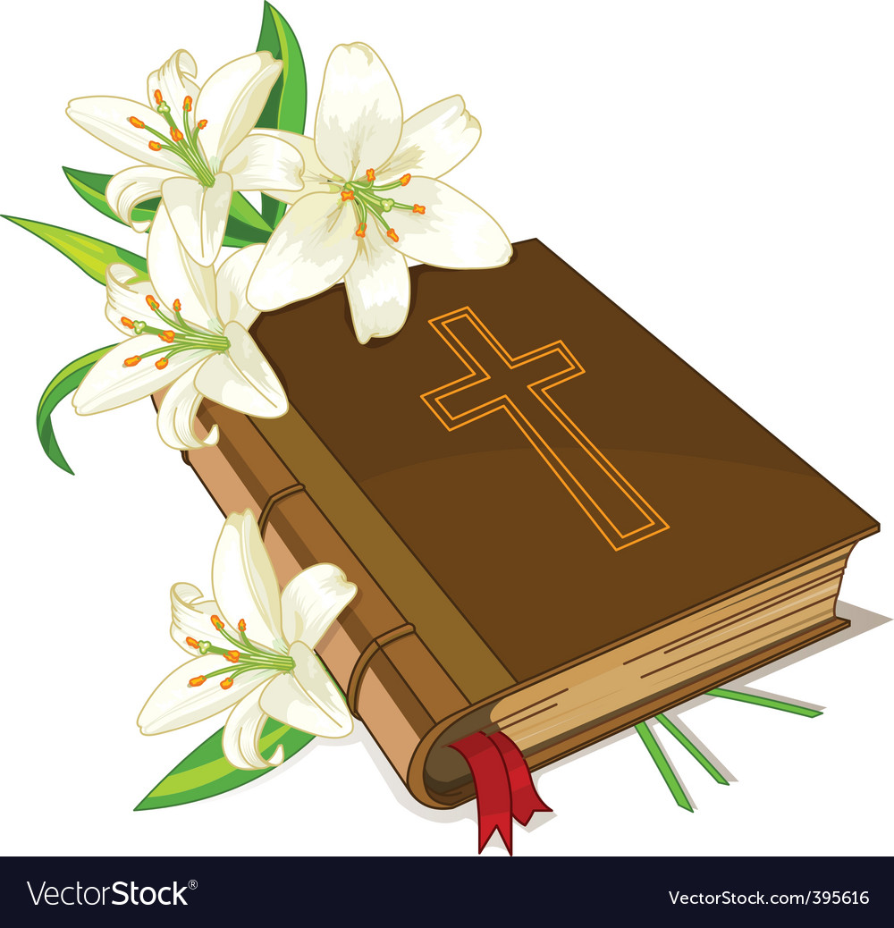 Bible and lily flowers vector