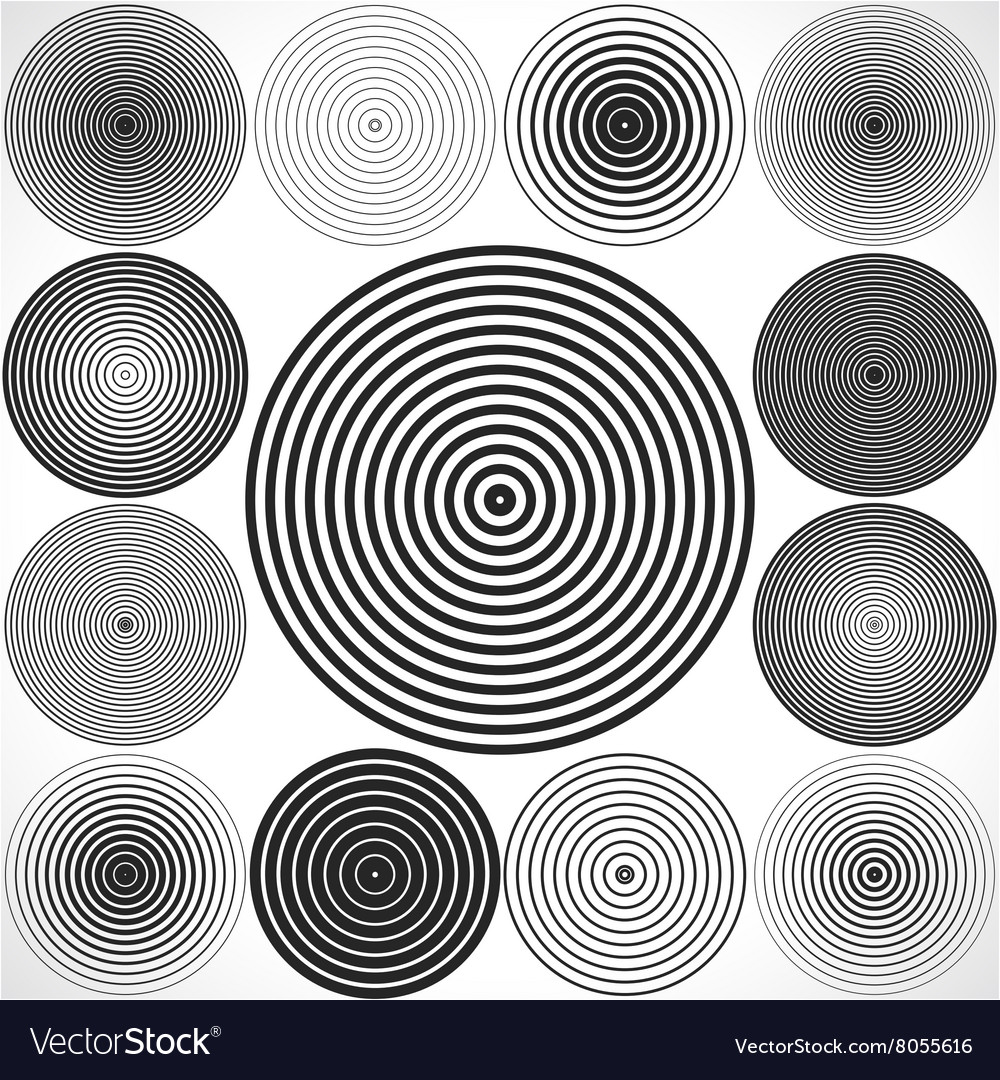 Set of concentric circle elements vector