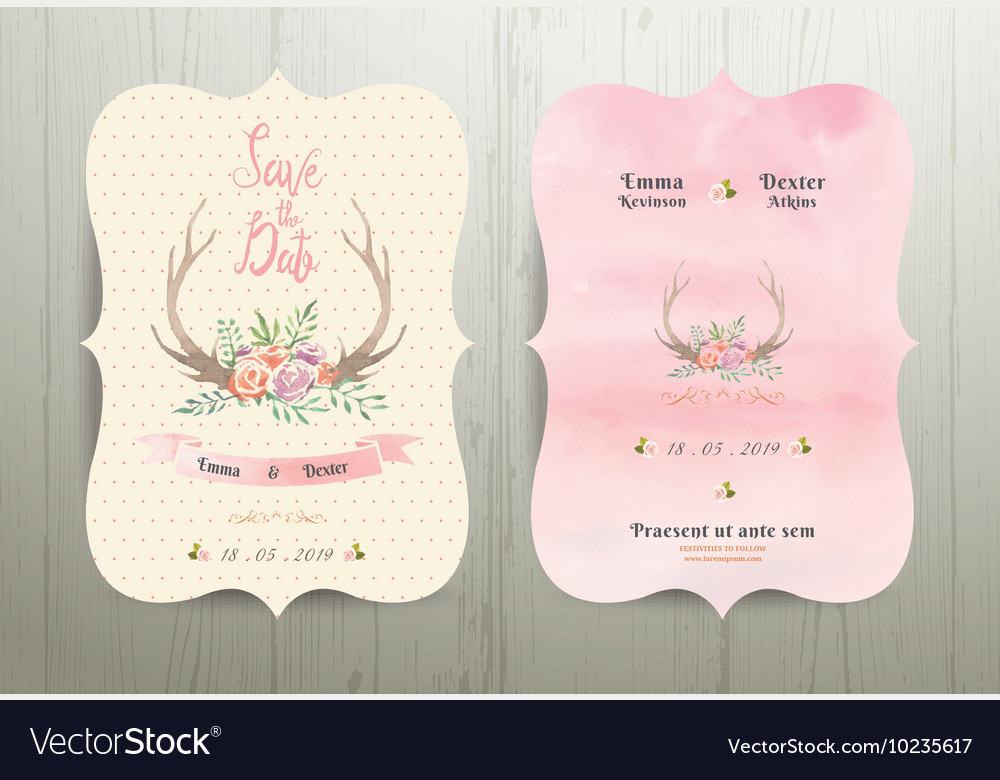 Antler flowers rustic wedding save the date vector