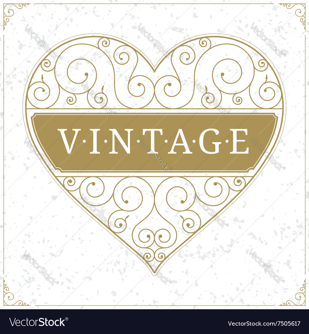 Heart luxury logo template in vintage style vector