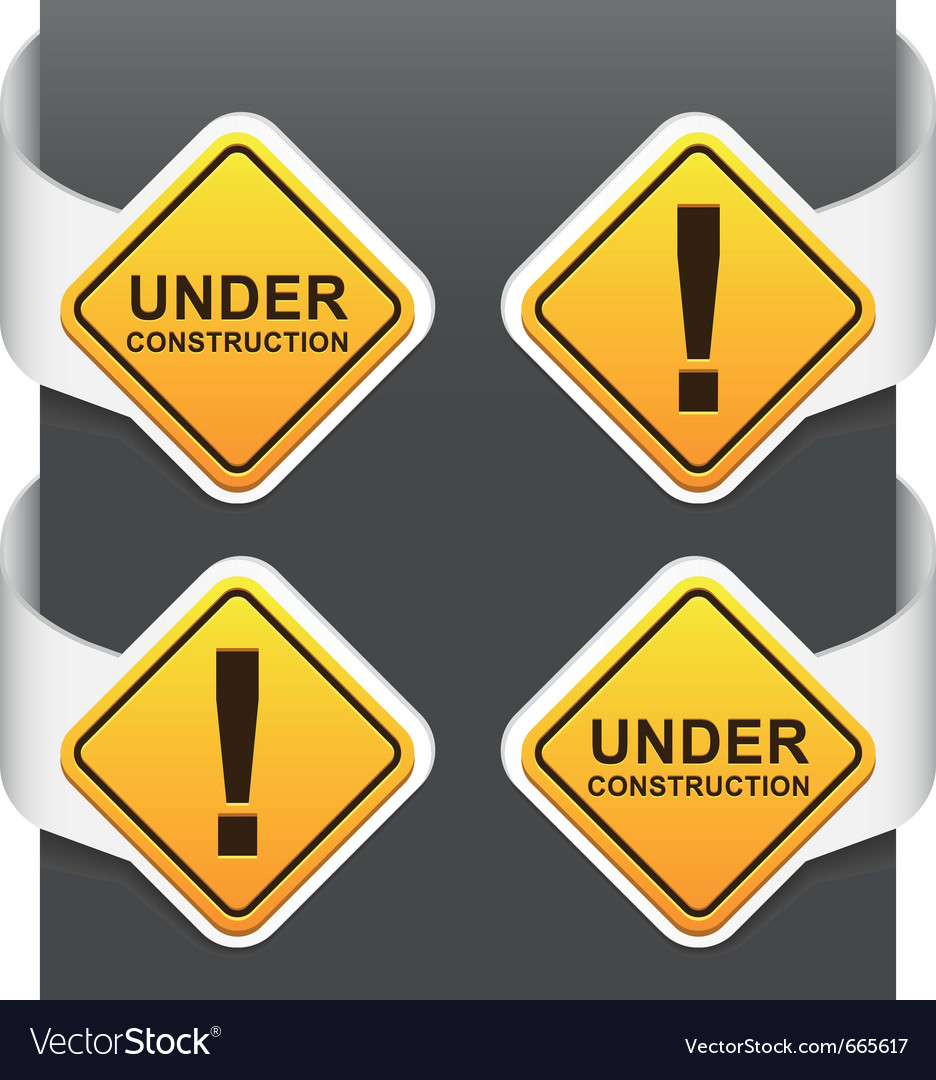 Left and right side signs  under construction vector