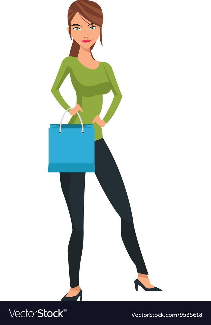 Woman holding shopping bag vector