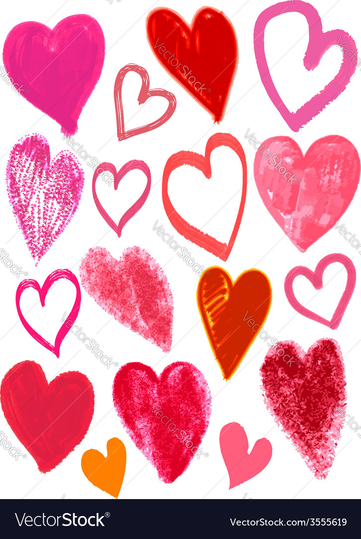 Hand drawing valentines heart vector
