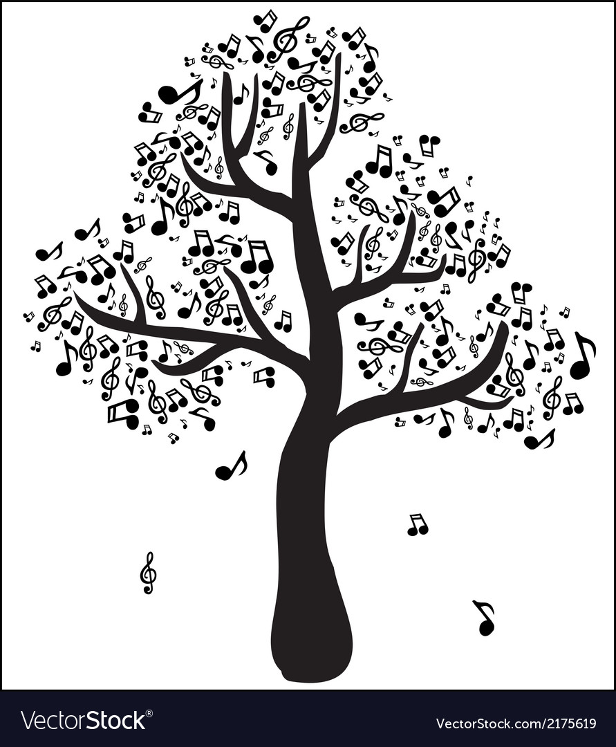 Musical tree with notes vector