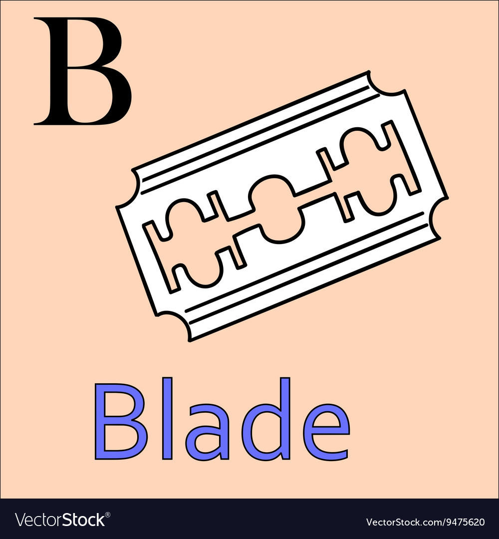 B letter alphabet coloring book blade vector