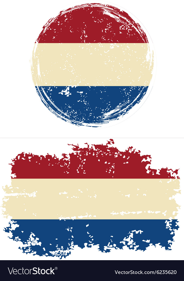 Dutch round and square grunge flags vector