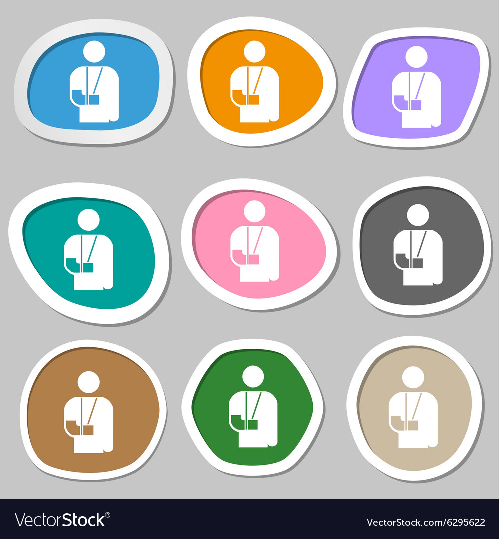 Broken arm disability icon symbols multicolored vector