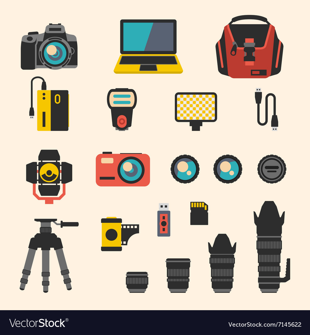 Photographer kit with camera elements flat vector