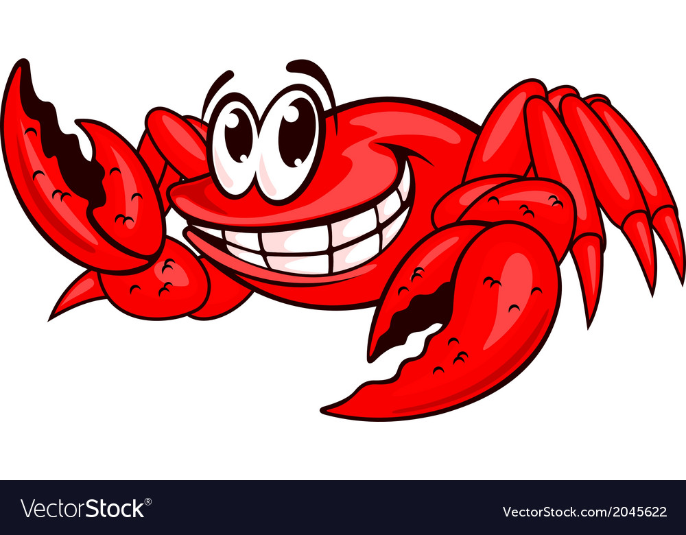 Smiling red crab vector