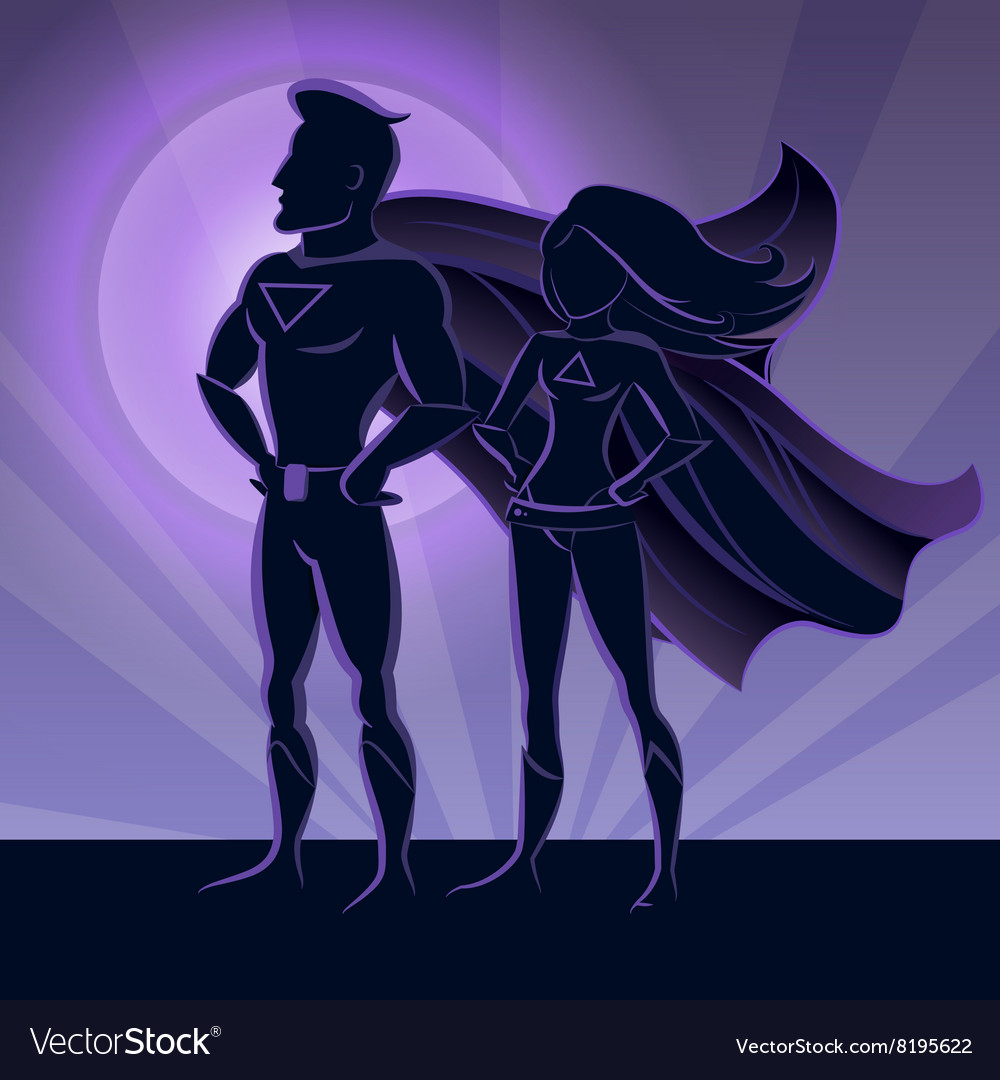 Superhero couple silhouettes vector
