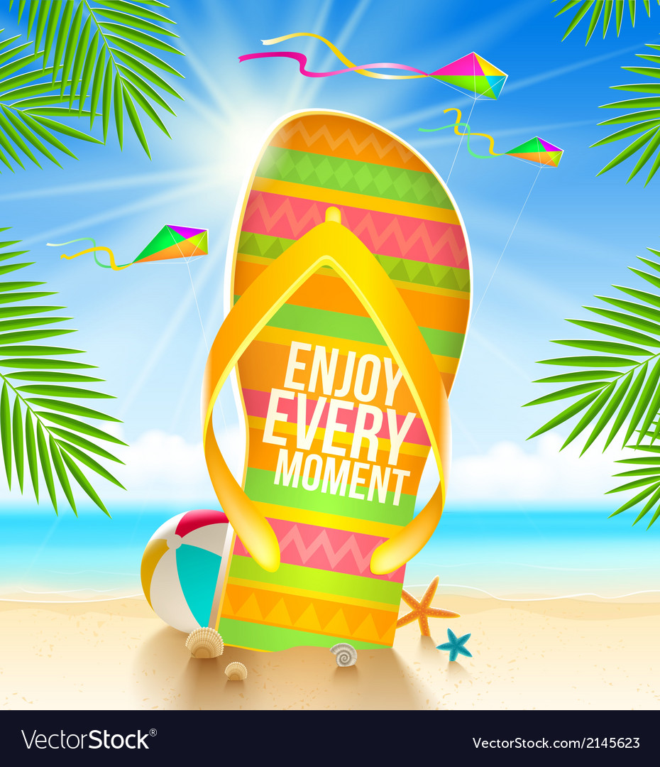 Flipflop with summer greeting vector