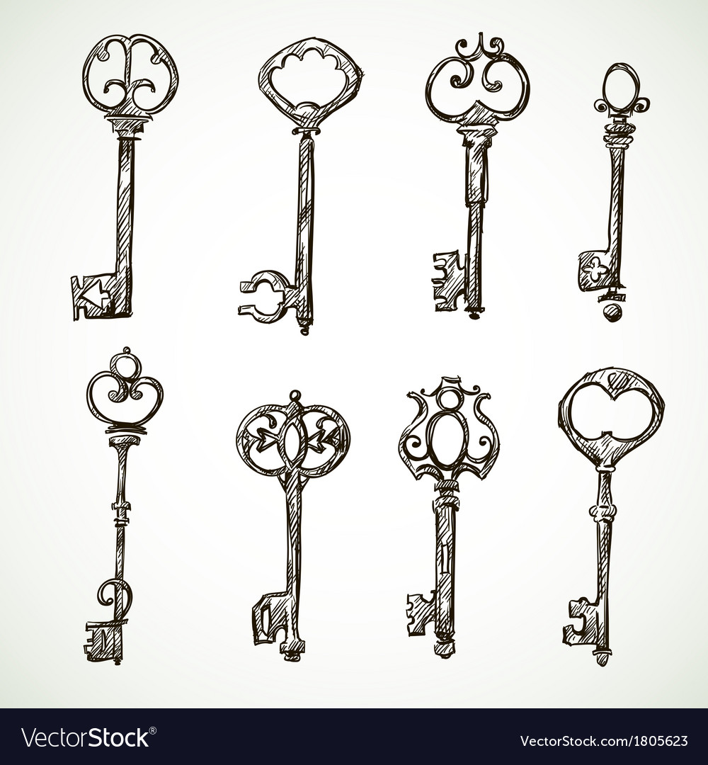 Set of vintage keys drawings vector