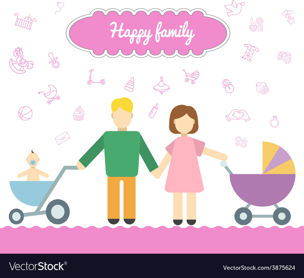 Father and mom with baby in stroller young father vector