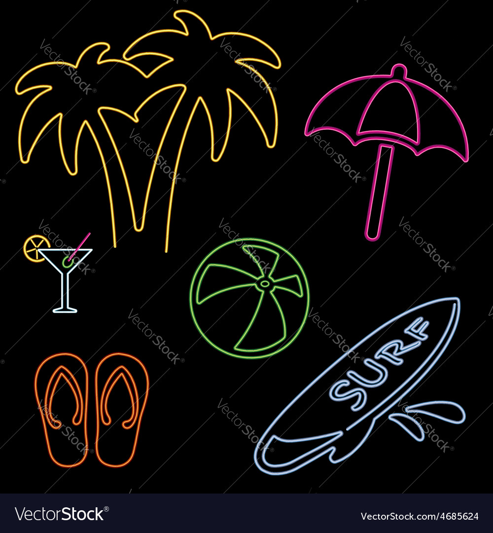 Neon beach icons vector