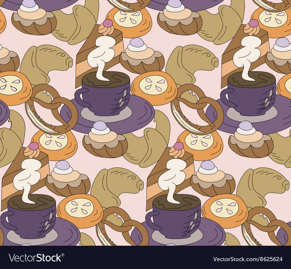 Seamless high tea cake and cats party vector