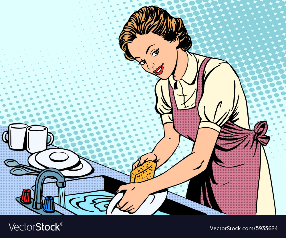 Woman washing dishes housewife housework comfort vector