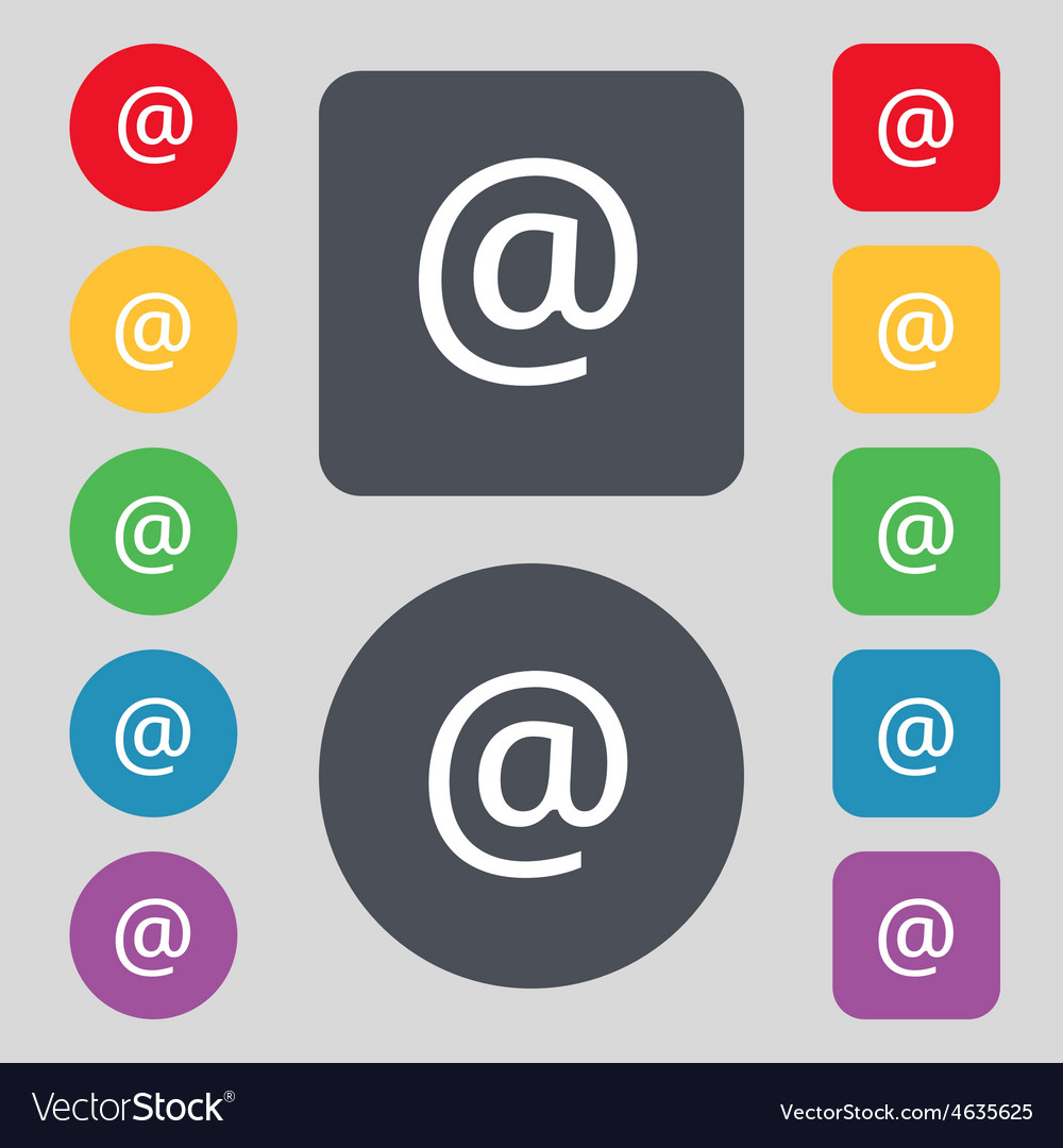 Email icon sign a set of 12 colored buttons flat vector