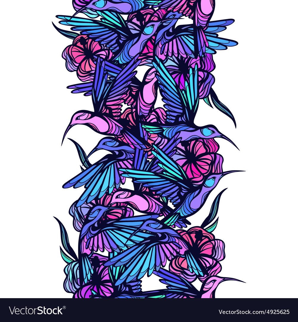 Flying tropical hummingbirds with flowers seamless vector