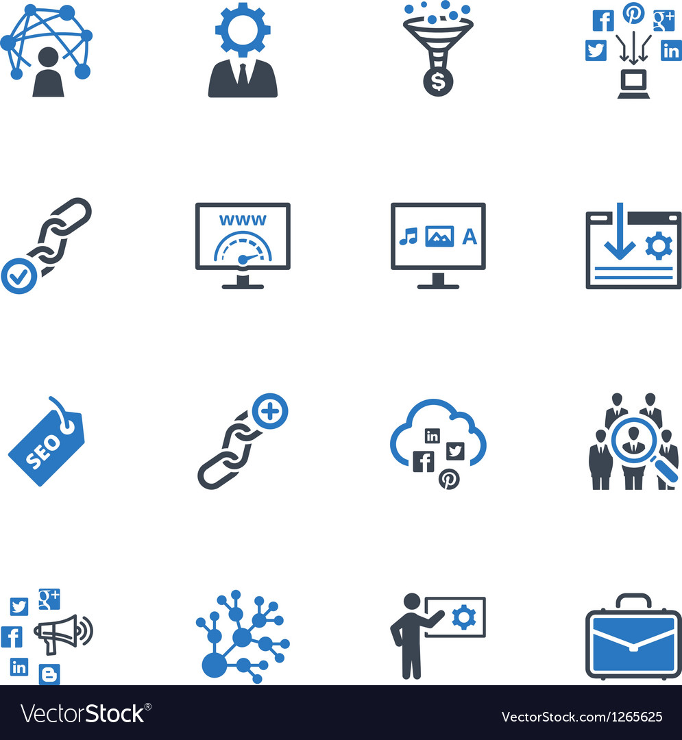Seo and internet marketing icons set 2blue series vector
