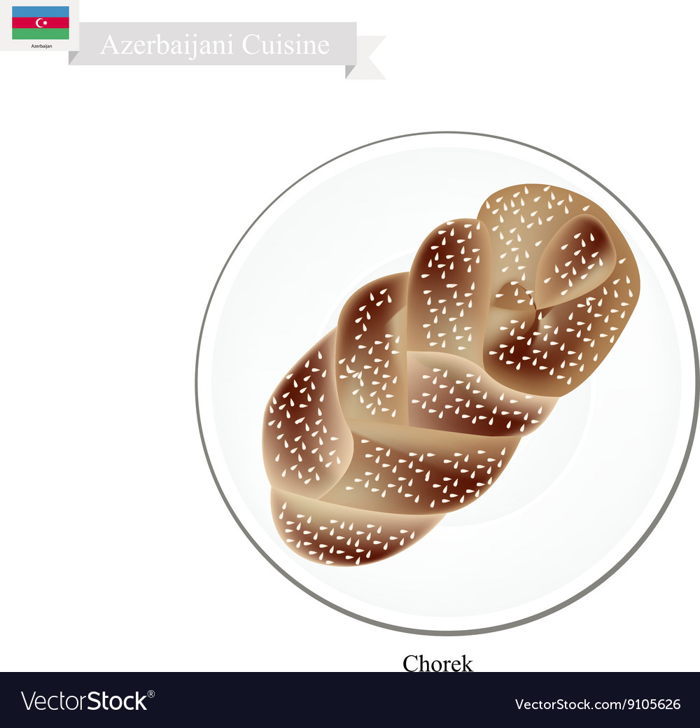 Chorek or azerbaijani sweet braided bread vector