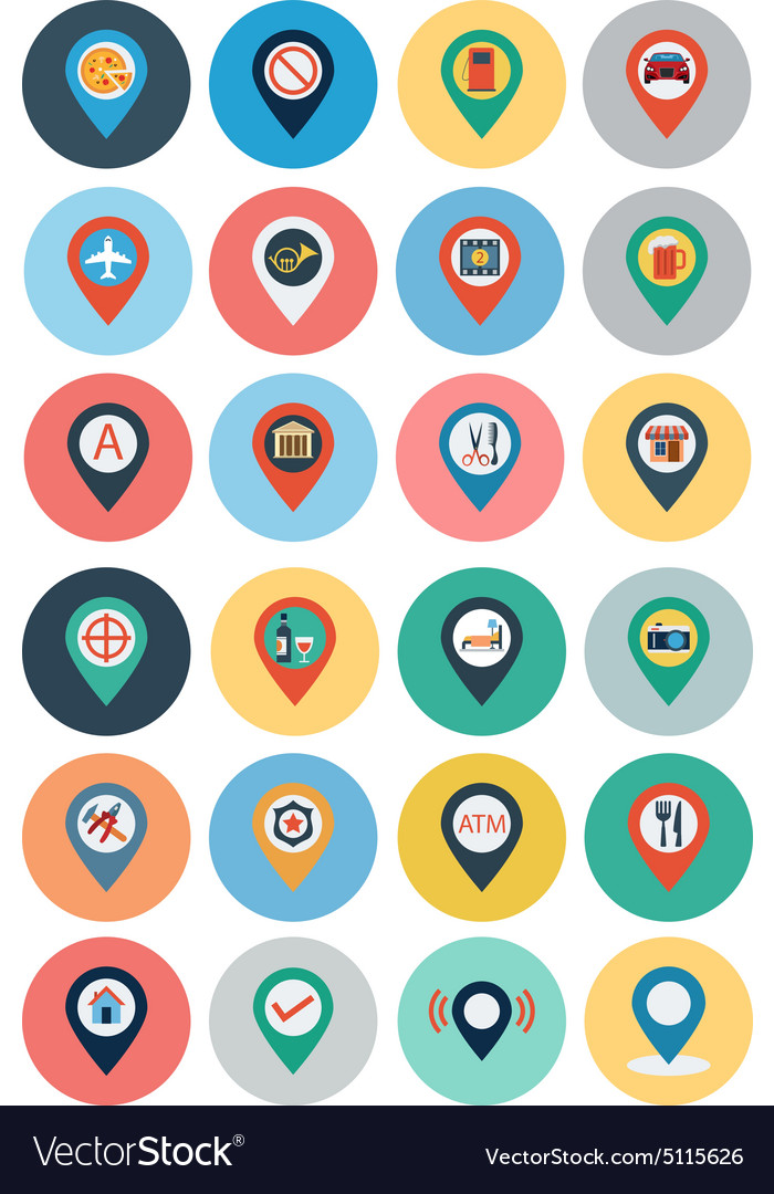 Maps and navigation flat icons 3 vector