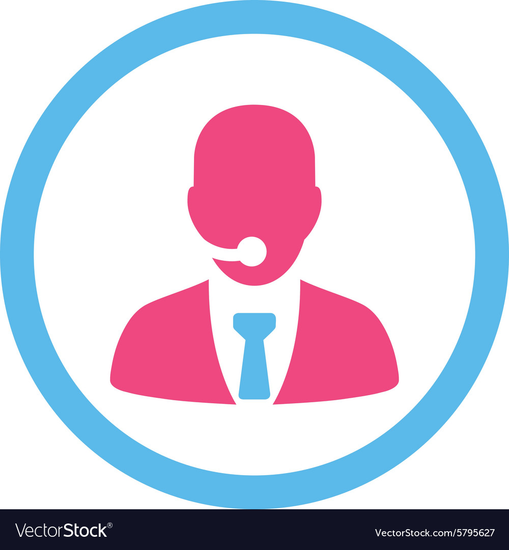 Call center operator flat pink and blue colors vector
