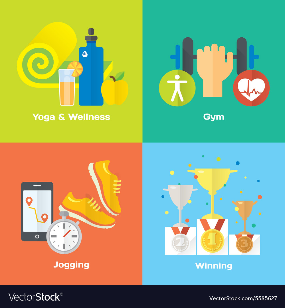 Sport winner concept flat icons of gym healthy vector