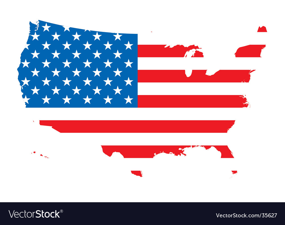 Us map flag vector