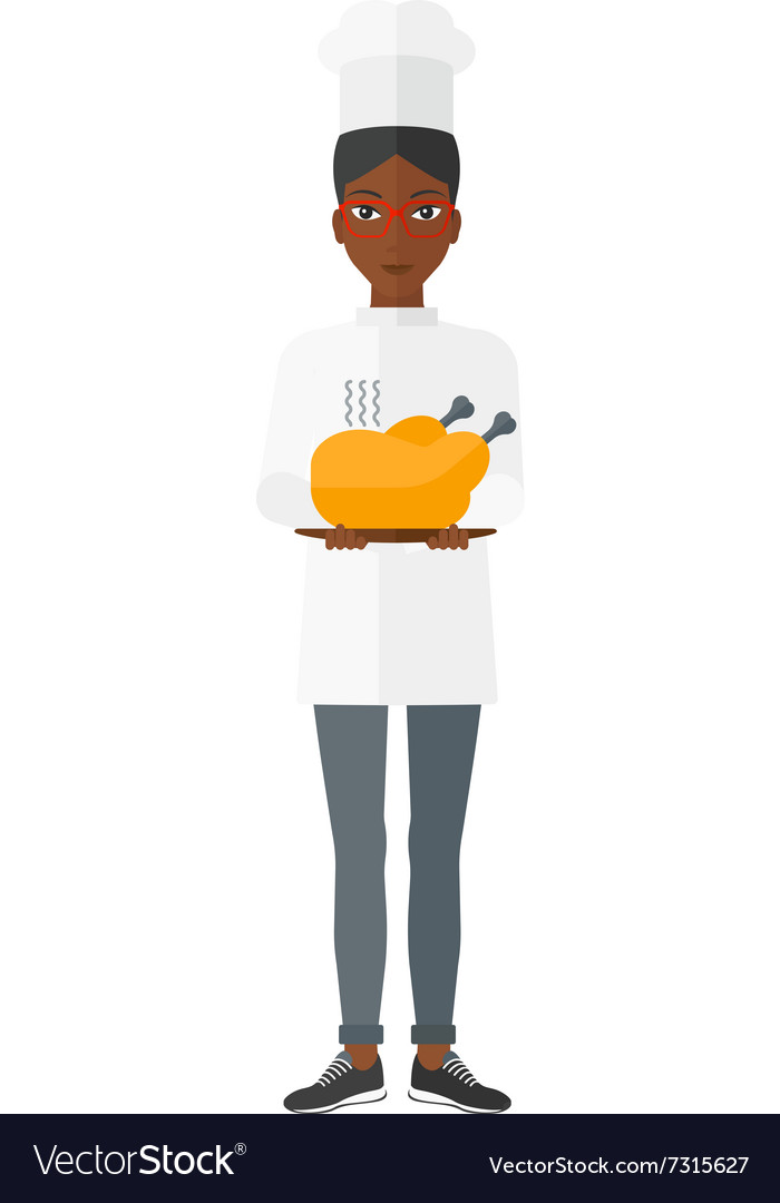 Woman holding roasted chicken vector