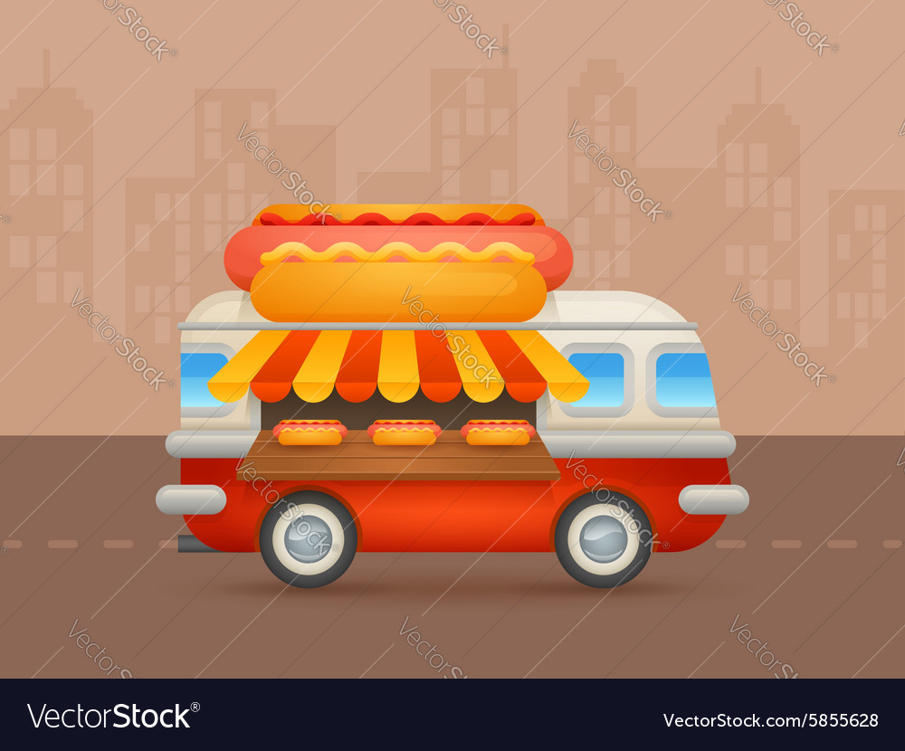 Cute cartoon realistic hotdog van vector