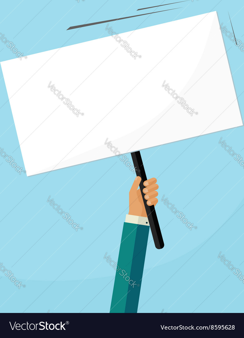 Hand holding placard with empty space for text vector