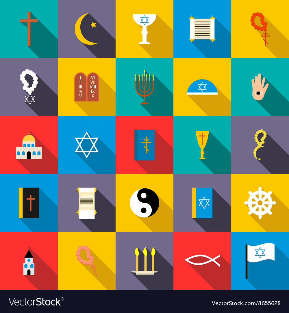 Religion icons set flat style vector