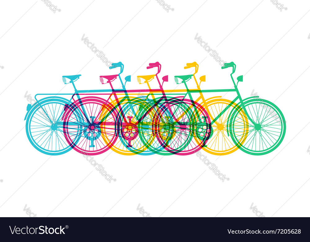 Retro bike concept silhouette bicycle colorful vector