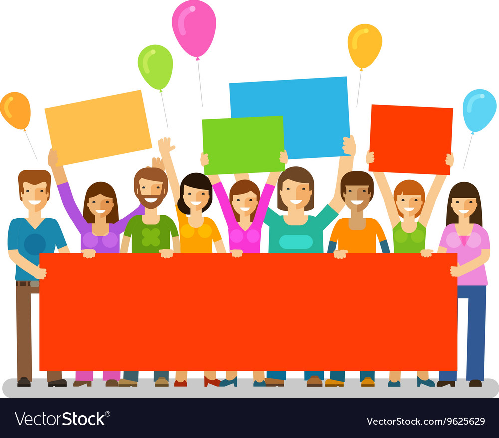 Friends with a congratulatory banner in hands vector