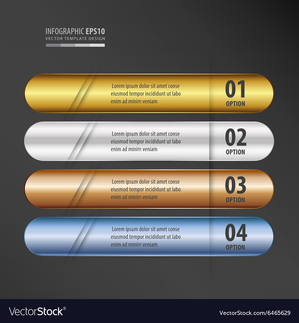 Rounded banner gold bronze silver blue color gradi vector