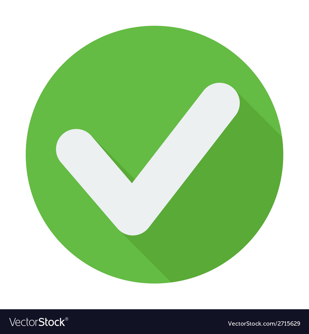 Single flat check mark icon with long shadow vector