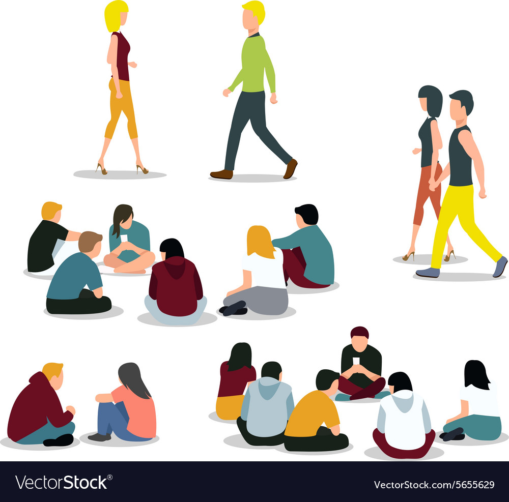 Sitting and walking young people vector