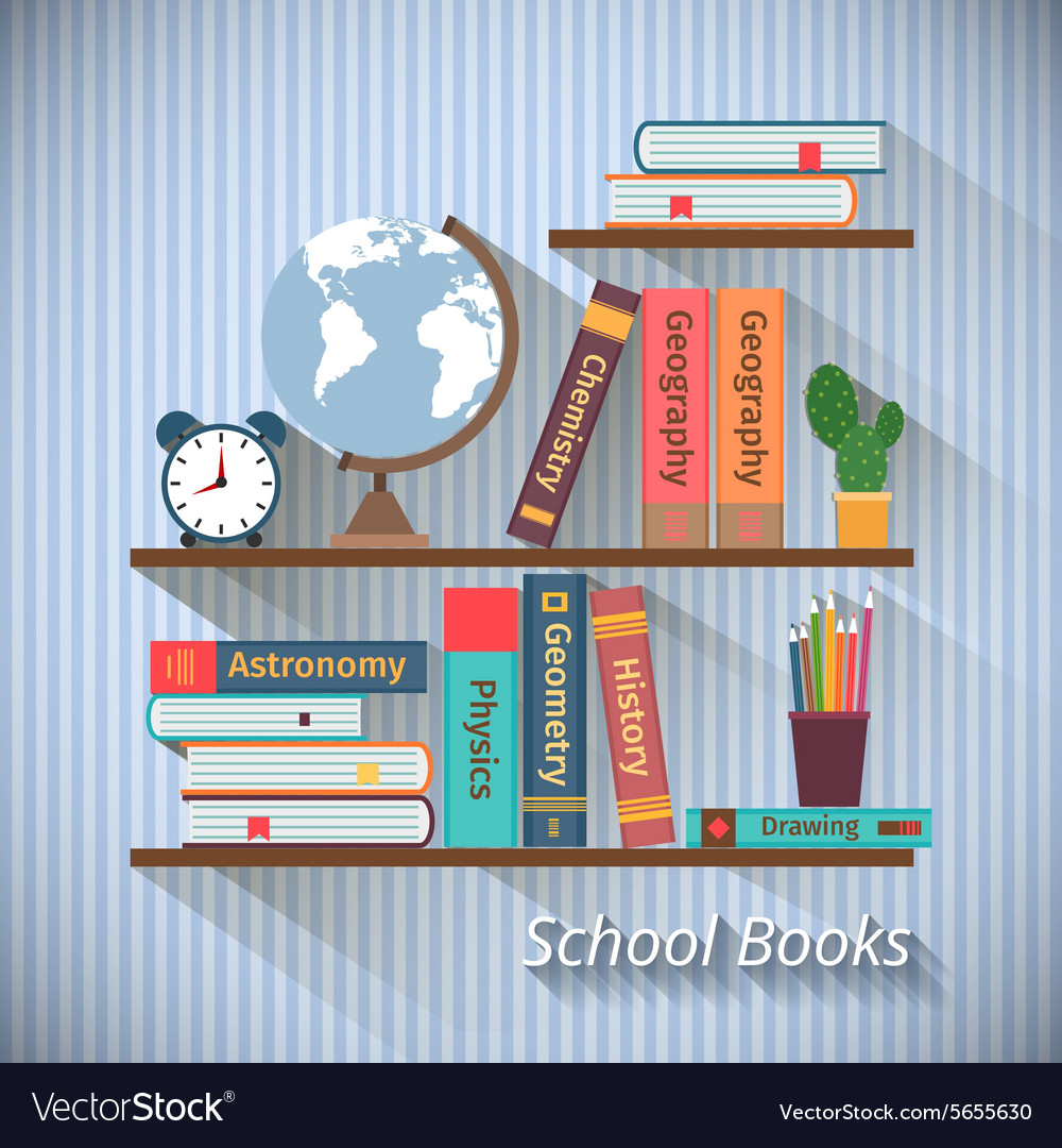 Bookshelves with textbooks vector