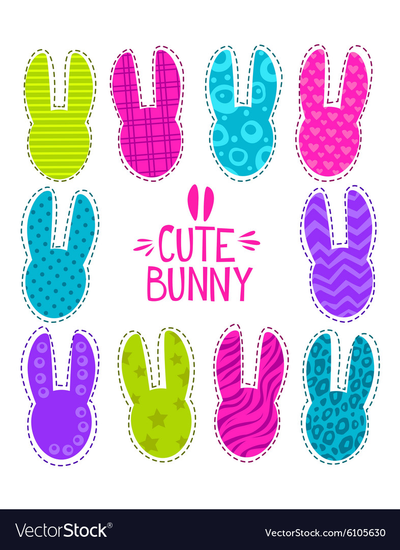Cute funny with bunny heads vector