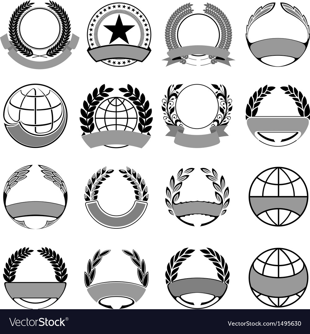 Wreath and ribbons set vector