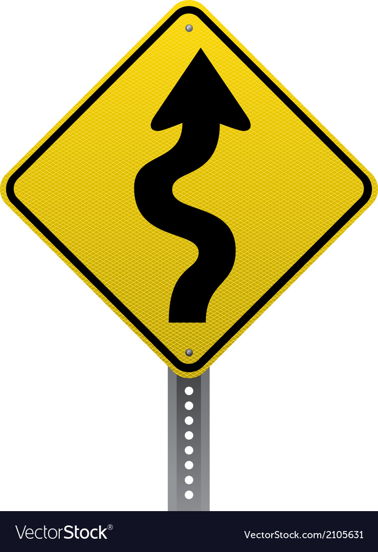 Winding road sign vector
